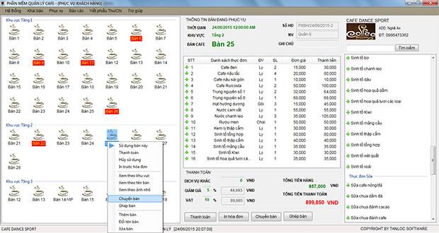 Phần mềm quản lý cafe tại hà tĩnh giao diện