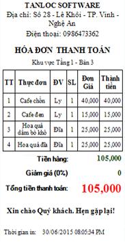 Phần mềm quản lý cafe tại hà tĩnh hóa đơn thanh toán A58
