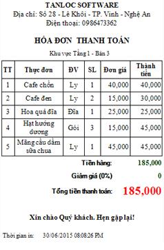 Phần mềm quản lý cafe tại hà tĩnh hóa đơn thanh toán A80